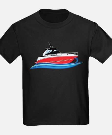 Sleek Red Yacht in Blue Waves T-Shirt