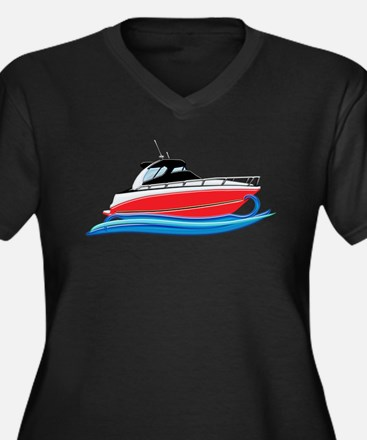 Sleek Red Yacht in Blue Waves Plus Size T-Shirt