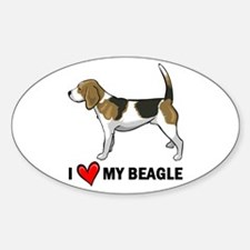 I Heart My Beagle Oval Decal