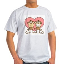 Monkey Love Couple Ash Grey T-Shirt