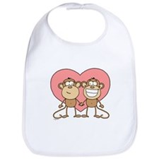 Monkey Love Couple Bib