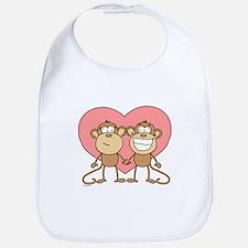 Monkey Love Couple Bib