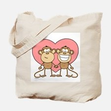 Monkey Love Couple Tote Bag