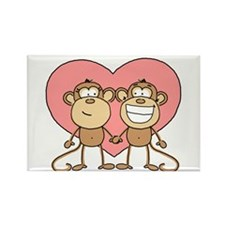 Monkey Love Couple Rectangle Magnet (100 pack)