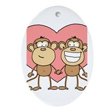Monkey Love Couple Oval Ornament