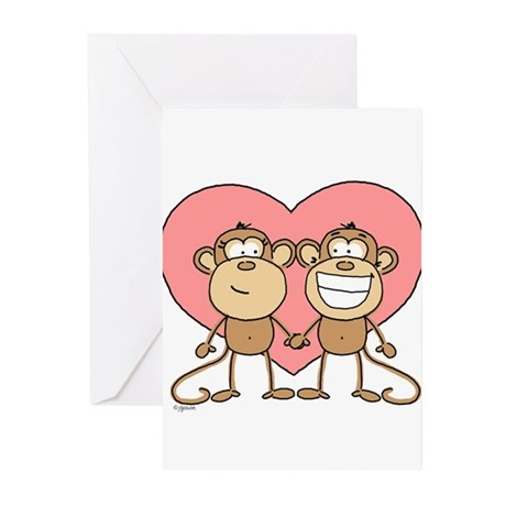 Monkey Love Couple Greeting Cards (Pk of 10)