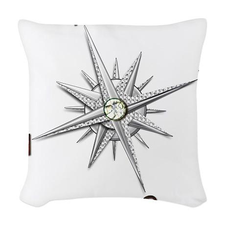 silver compass points copy Woven Throw Pillow