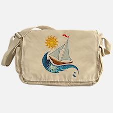 Sailboat, ocean and Sun copy Messenger Bag