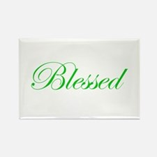 Green Blessed Rectangle Magnet