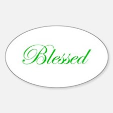 Green Blessed Oval Decal