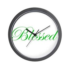 Green Blessed Wall Clock