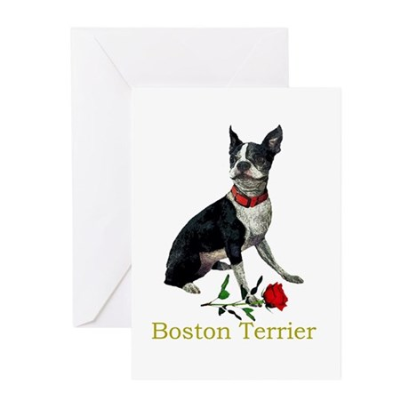 Boston Terrier Valentine Rose Greeting Cards (Pack