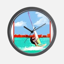 Windsurfing in the Harbor Wall Clock