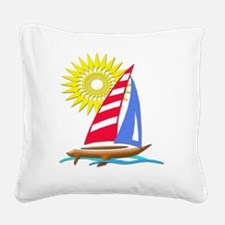 Sun and Sails Square Canvas Pillow