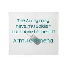 Army Girlfriend Heart Throw Blanket