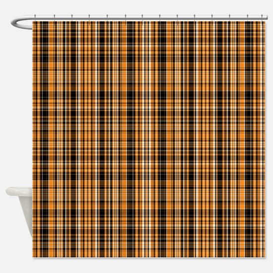 Halloween Plaid Shower Curtain Orange And Black Curtains  CafePress
