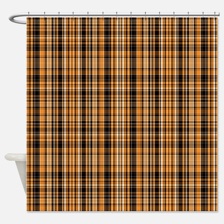 plaid shower curtains orange plaid fabric shower curtain liner