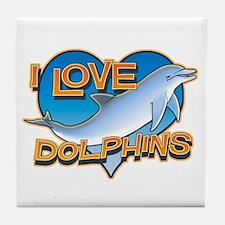 I Love Dolphins Tile Coaster