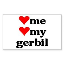 LOVE ME LOVE MY GERBIL Rectangle Decal