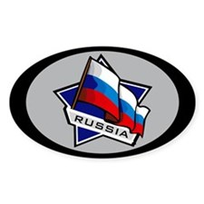 """""""Russia Star Flag"""" Oval Decal"""