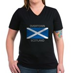 Overtown Scotland Women's V-Neck Dark T-Shirt