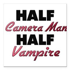 "Half Camera Man Half Vampire Square Car Magnet 3"""