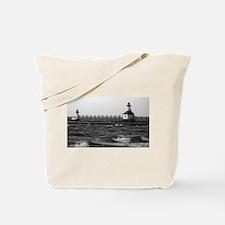 lighthouse b/w Tote Bag