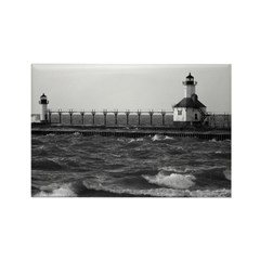 lighthouse b/w Rectangle Magnet