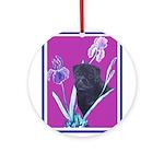 Black Chinese Pug Ornament (Round)