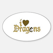I Love Dragons (2) Oval Decal
