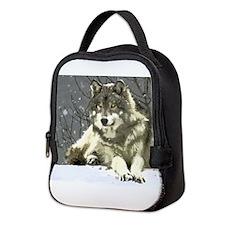 Gray Wolf Neoprene Lunch Bag
