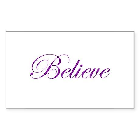 Purple Believe Rectangle Sticker