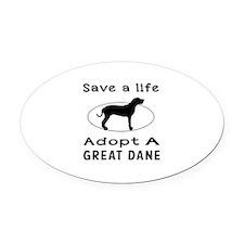 Adopt A Great Dane Dog Oval Car Magnet