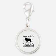Adopt A Great Pyrenees Dog Silver Round Charm