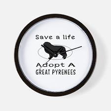Adopt A Great Pyrenees Dog Wall Clock