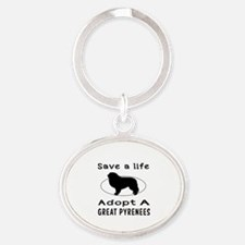 Adopt A Great Pyrenees Dog Oval Keychain