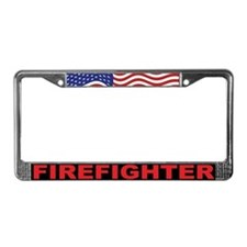 Patriotic Firefighter License Plate Frame