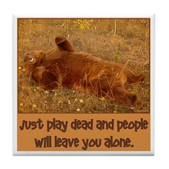 Play Dead Bear Tile Coaster