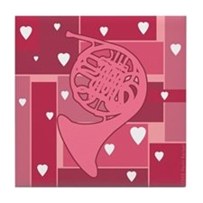 French Horn Hearts - Tile Coaster