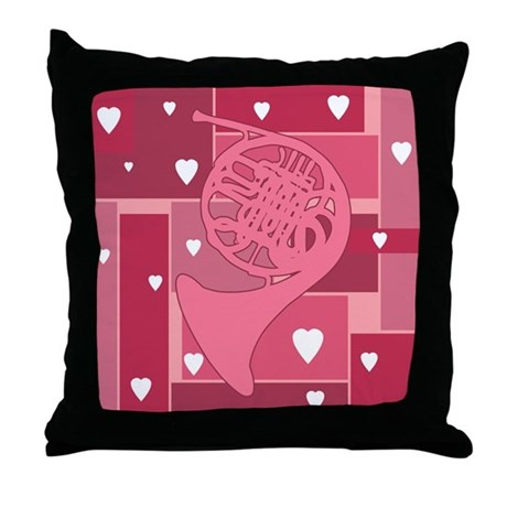 French Horn Hearts - Throw Pillow