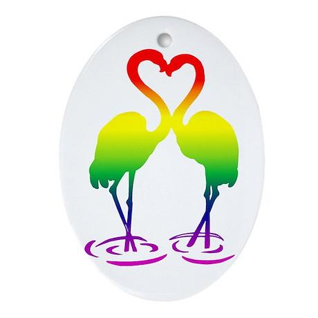 Flamingo Pride Oval Ornament