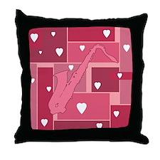 Saxophone Hearts - Throw Pillow
