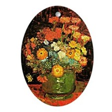 Van Gogh - Vase with Zinnias and Oth Oval Ornament