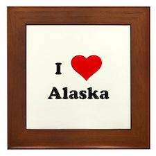I Love Alaska Framed Tile