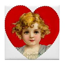 Victorain Valentine Girl Tile Coaster