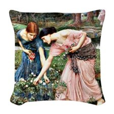 Waterhouse: Gather Ye Rosebuds Woven Throw Pillow