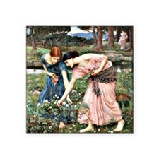 "Waterhouse: Gather Ye Roseb Square Sticker 3"" x 3"""