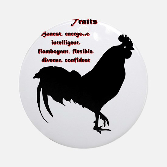 Year of the Rooster - Traits Round Ornament