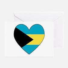 Bahamian Flag Heart Greeting Cards (Pk of 10)