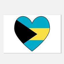 Bahamian Flag Heart Postcards (Package of 8)
